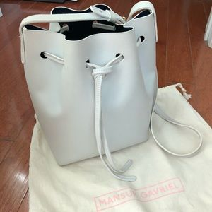 SS19 Mansur Gavriel Mini Bucket Bag in White/Blu